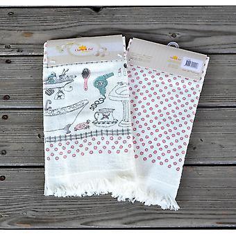 Clayre & EEF romantyczny ręcznik frotte Gästehandtuch z fringe 40 x 60 cm
