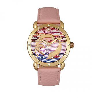 Bertha Estella MOP-bracelet en cuir mens Watch - or/rose