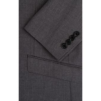 Dobell Mens Grey Sharkskin Suit Jacket Slim Fit Notch Lapel