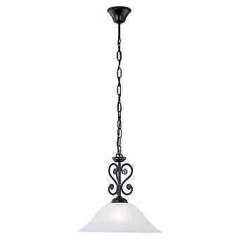 Eglo - Murcia noir plafond traditionnel pendentif avec verre albâtre EG91002