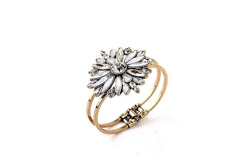 Wide Rhinestone Flower Star Burst Cuff Bangle Bracelet