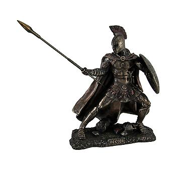 Hector Trojan War Fighter Bronze Finish Statue w/Shield and Spear