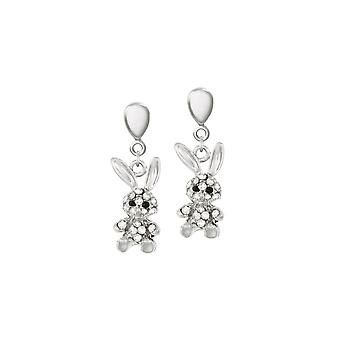 Eternal Collection Buffy The Bunny Crystal Silver Tone Drop Clip On Earrings