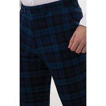 Dobell heren blauw tartan broek regular fit