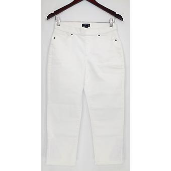 Susan Graver Frauen's Petite Hose Stretch Denim Pull-On Crop Weiß A302652