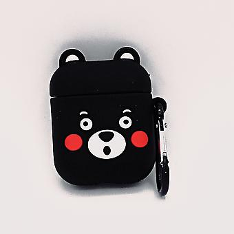 Cartoon Silicone Case for Apple Airpods-Cute black bear-with lobster clasp