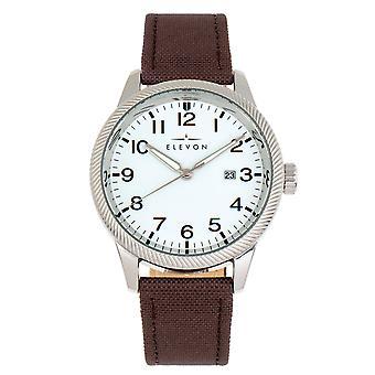 Elevon Bandit Leather-Band Watch w/Date - Brown/White
