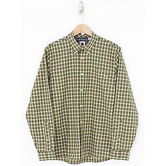 Mooie groene klassieke fit check shirt-kaki