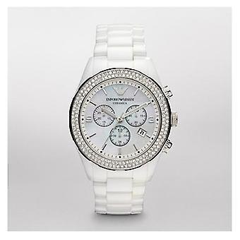 Emporio Armani Ar1456 mais recente modelo senhoras branco Ceramica Watch