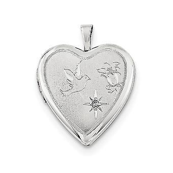 925 סטרלינג כסף Engravable מחזיק 2 תמונות מלוטש סאטן 20mm יהלום נצנוץ חתך יונה ופרח אהבה לב לוק
