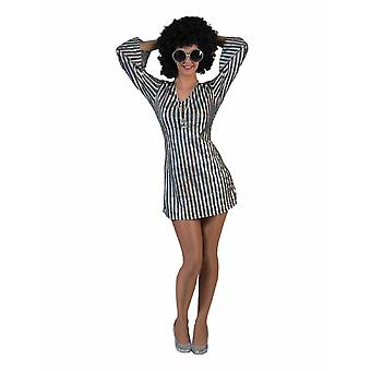Stripe Dress Disco Dancer Costume Femme Carnaval Carnaval Thème Partie Shimmer Costume Dames