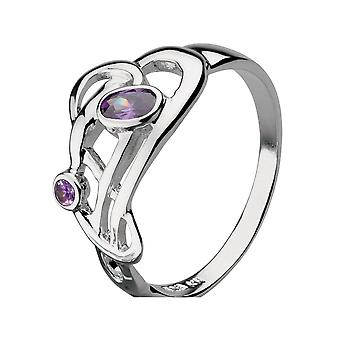 Kit Heath Heritage Heritage Art Nouveau Flowing Knot 2 Stone Ring 1209AM