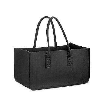 Filt taske træ træ sort sort, lavet af robust polyester filt, med håndtag.