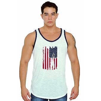 USA Flag Distressed Tank Top White