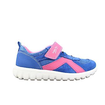 Superfit 09192-81 Blue Suede Leather Girls Rip Tape Trainer Shoes