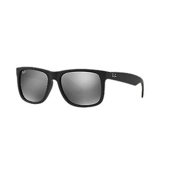 Ray-Ban Justin RB4165 622/6G Black Rubber/Grey Mirror Silver Sunglasses