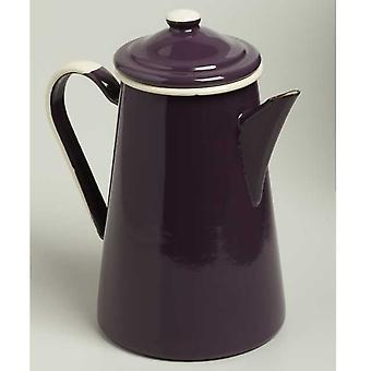 Emalia Enamel Coffee Pot 1 Litre Aubergine / Cream
