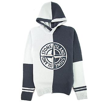 Stone Island Block Contrasting Logo Hooded Sweater Light Grey V0064