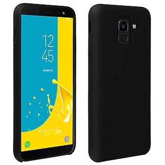 Samsung Galaxy J6 silicone semi-stijve koffer, soft touch matte finish-zwart