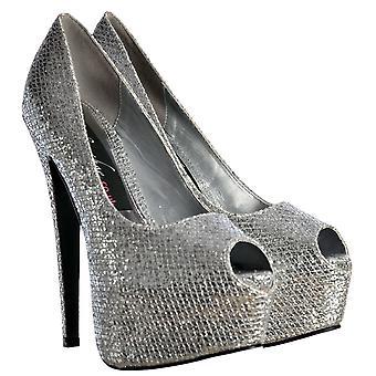 Onlineshoe sparkly Shimmer glitter peep toe stiletto platform hoge hak-zilver