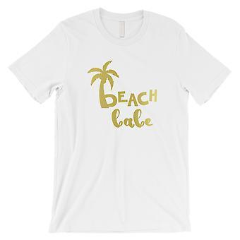 ビーチ ベイブ パームツリー-ゴールド ゴールド メンズ ホワイト T シャツ 祝福アニバーサリー