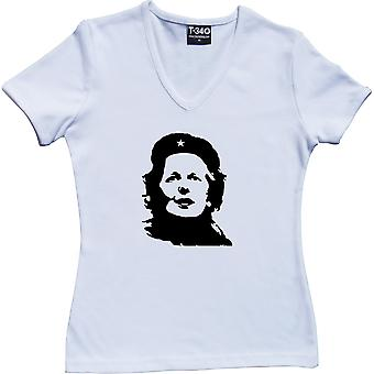 Margaret Thatcher Che Guevara Revolutionary V-Neck White Women's T-Shirt