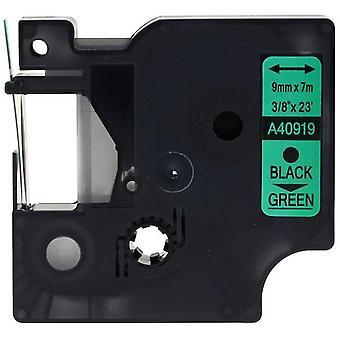 Kaseta Prestige™ kompatybilna d1 40919 czarna na zielonych taśmach (9mm x 7m) dla producentów etykiet elektronicznych