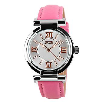 Skmei Women's Ladies Girls Watch Clear Dial Roman Numerals Genuine Leather Strap Pink
