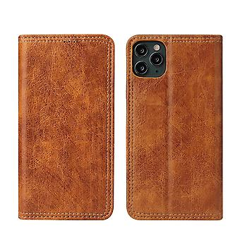 For iPhone 11 Pro Case PU Leather Flip Wallet Protective Cover Kickstand Khaki
