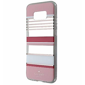 kate spade Flexible Hardshell Case for Galaxy S8 Plus - Berber Stripe Clear/Atlas Pink/Rose Gold Foil/Cream