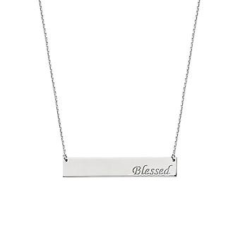 925 Sterling Silver Rhodium Plated Side ways Bar Blessed Engraving Necklace 18 Inch Jewelry Gifts for Women