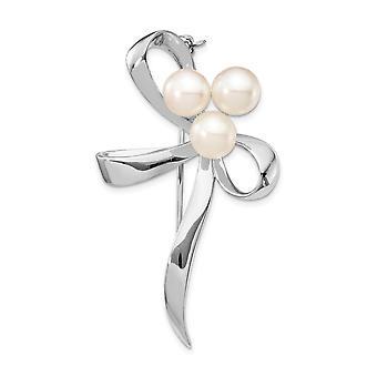 925 Sterling Gümüş Rhod plat 7 8mm Beyaz Düğme Tatlısu Kültür Pearl Broş Pin Takı Hediyeler Kadınlar için