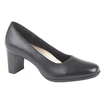 Mod Comfys Celias Ladies Leather Court Shoes Black