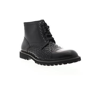 Zanzara Botticino  Mens Black Leather Lace Up Casual Dress Boots Shoes