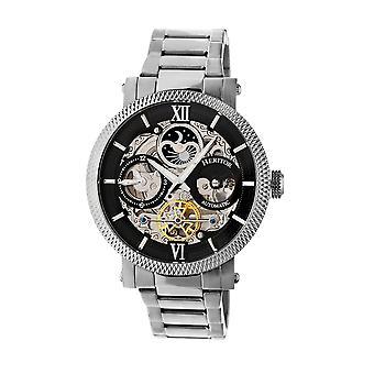 Heritor Aries automático esqueleto Dial pulseira relógio - prata/preto