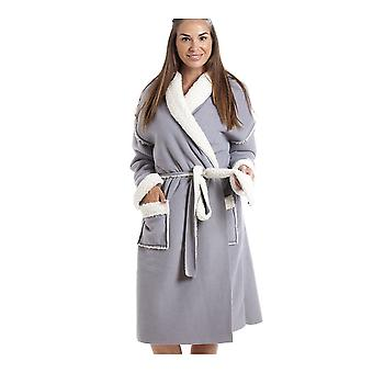 Camille Womens Grey Stay Soft Bonded Fleece Dressing Gown