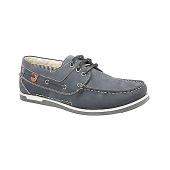 Roamers Navy Nubuck 3 Eyelet Boat Shoe Leather/textile Lining Pu Deluxe Padded ½ Sock Tr Sole