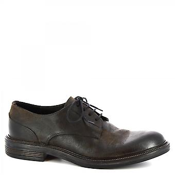 Leonardo Shoes Men's handgemaakte veterschoenen in donkerbruin suède leer