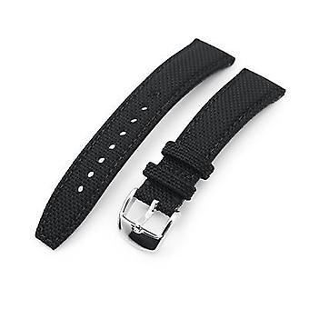 Strapcode fabric watch strap 20mm, 21mm or 22mm strong texture woven nylon black watch strap, polished