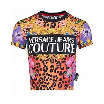 Versace Jeans Couture Tropical Print Cropped T-Shirt