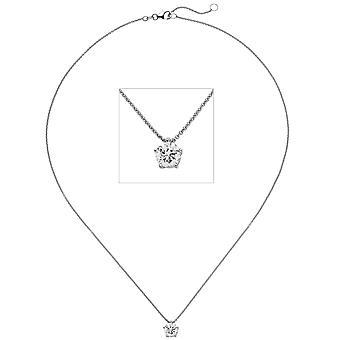 Women's Necklace Necklace with Pendant 585 Gold White Gold 1 Diamond Brilliant 1.0ct. 45 cm