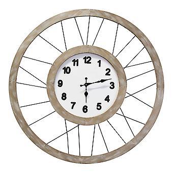 """28""""& עץ לבן & מתכת מסגרת / שעון קיר"""