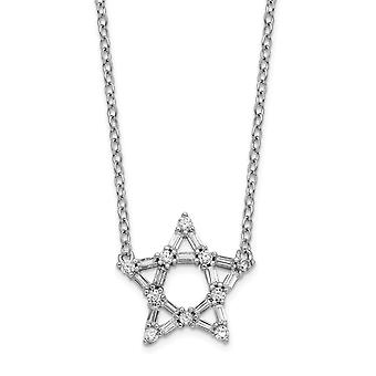 925 Sterling Silver Rhodium plated CZ Cubic Zirconia Simulated Diamond Star With 2inch Ext. Pendant Necklace 16 Inch Jew