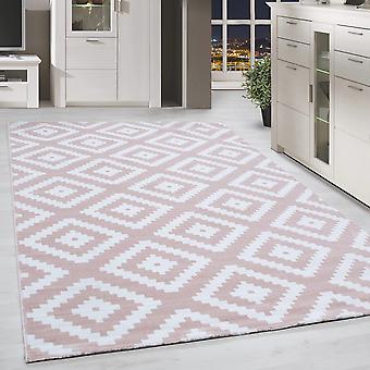 Short Flor Rug Antique Plaid Pattern Pink White Mused Living Room Rug