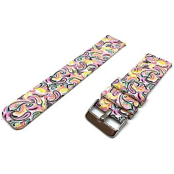 Clearance silicone rubber watch strap bright paisley pattern 22mm with quick release spring bar