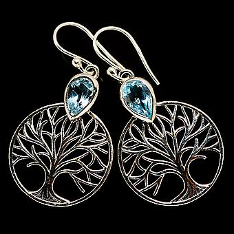 Blue Topaz Tree Earrings 1 1/2