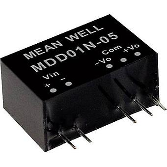 Mean Well MDD01N-05 DC/DC converter (module) 100 mA 1 W No. of outputs: 2 x