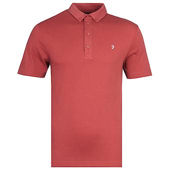 Farah George Vintage Rust Red Button-Down Polo Shirt