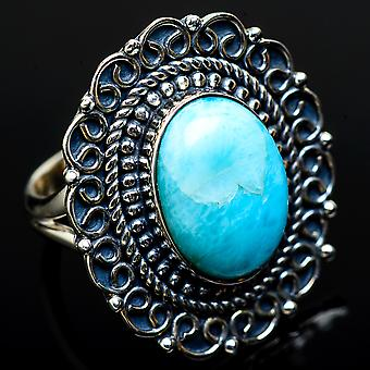 Large Larimar Ring Size 7 (925 Sterling Silver)  - Handmade Boho Vintage Jewelry RING11686