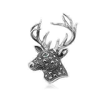 Classic Round Marcasite & Emerald Stag Brooch in 925 Sterling Silver 214C269701925